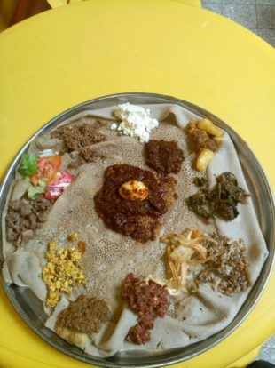 My farewell Injera. There is raw meat on there. That's Ethiopia for you.